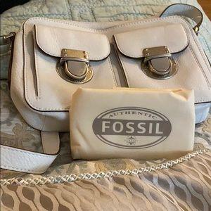 Fossil white leather crossbody bag. NWOT